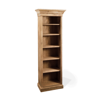 Narrow solid wood bookcase