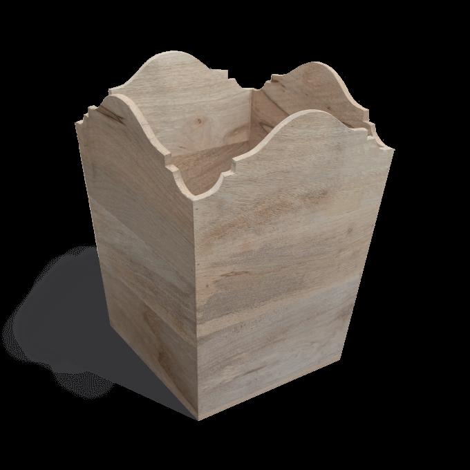 Carved Wooden Bin