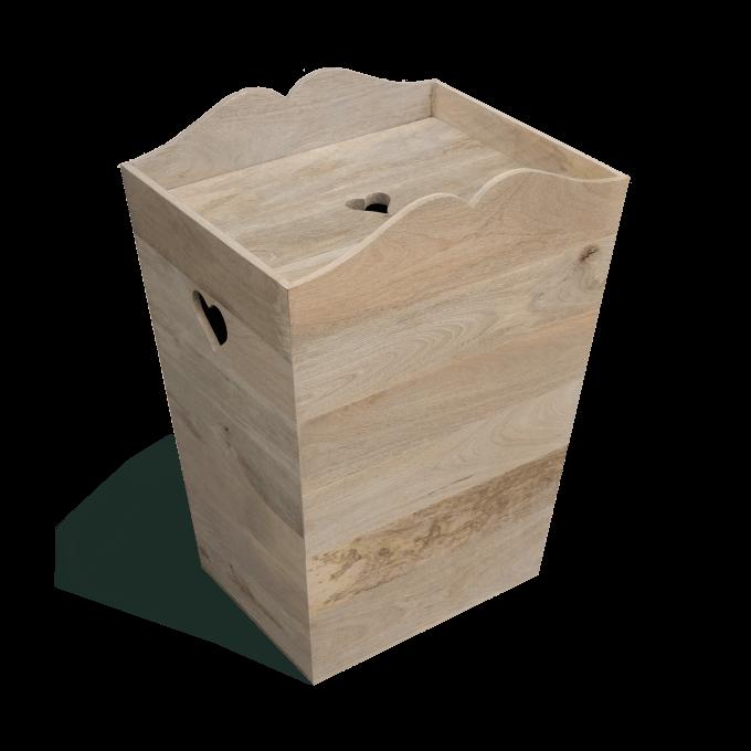 Wooden laundry bin