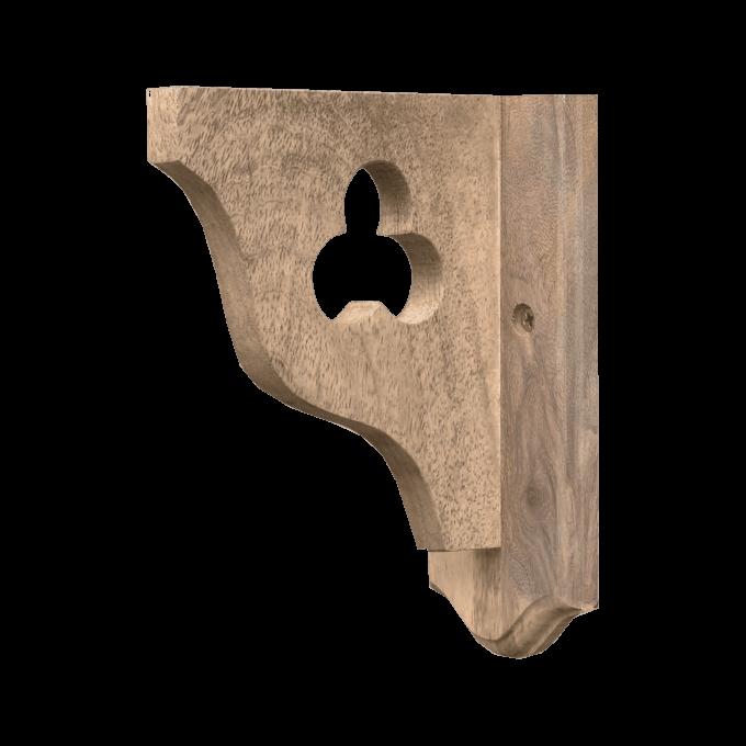 Wooden Shelf bracket with Trefoil Cut Out