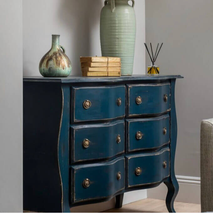 distressed painted bow fronted chest