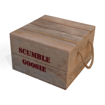 Wooden Crate with Scumble Goosie lettering stamp