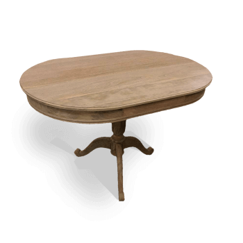 Natural wood oval pedestal table