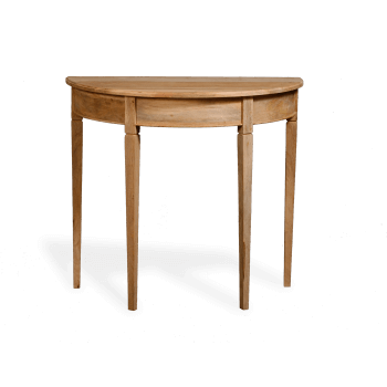 demi lune table in natural wood