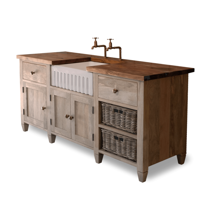 Wooden Kitchen Unit with Enamel Sink