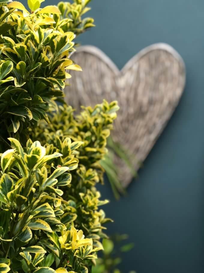 wicker heart in the garden