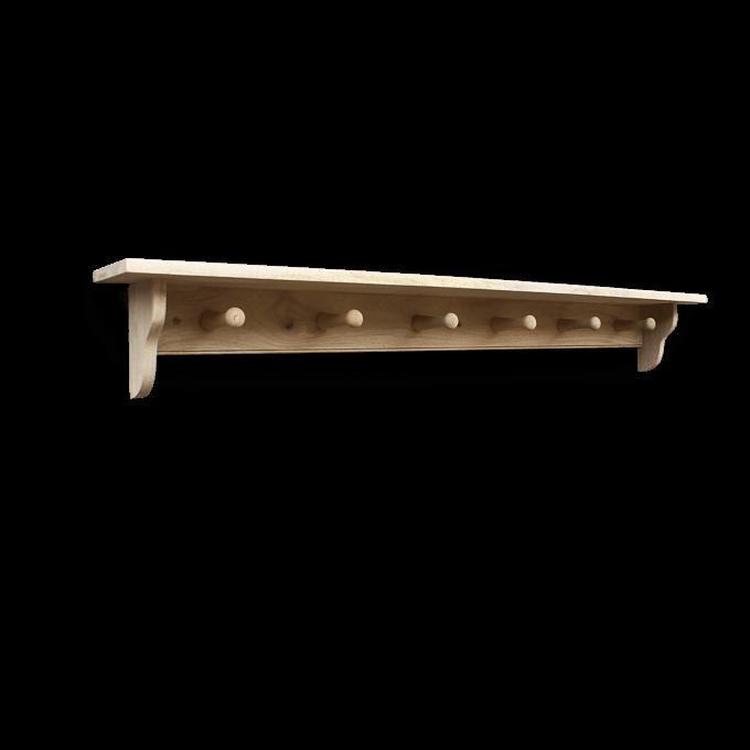 6 peg wooden shelf