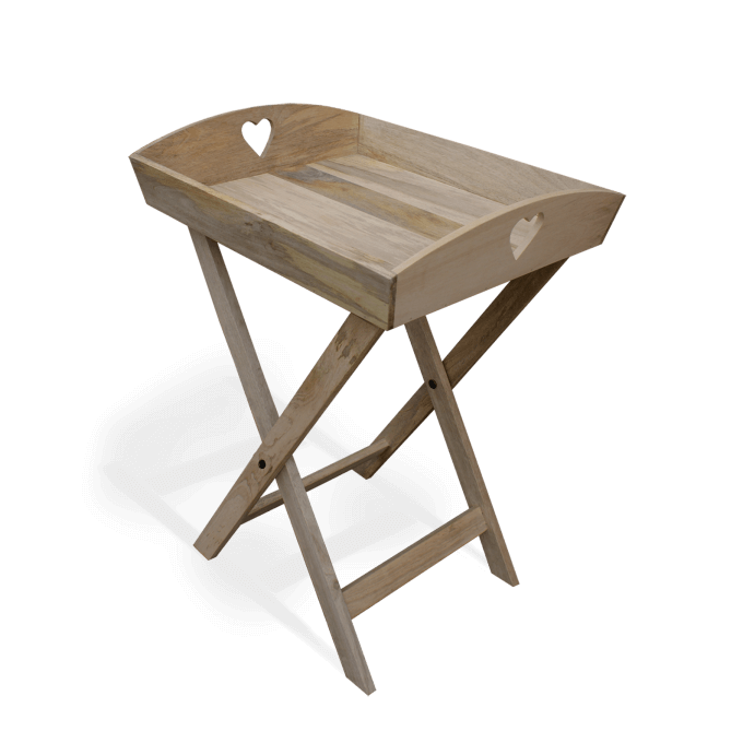 Solid Wood Tray Table with Heart Handles