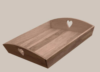Wooden Tray with Heart Cut Out Handles