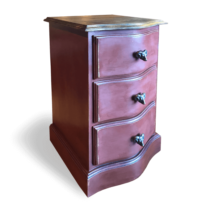 Bedside Drawers painted red