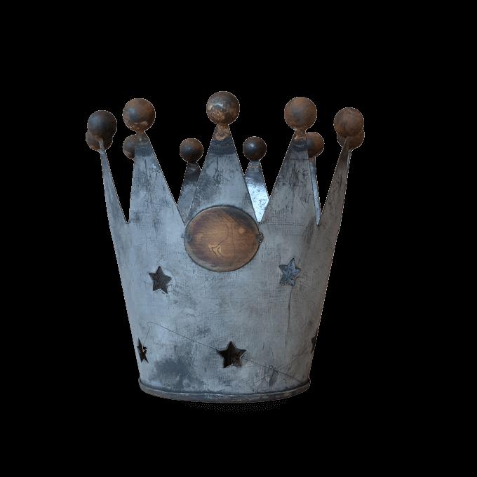 Tea Light Holder Zinc Crown Design