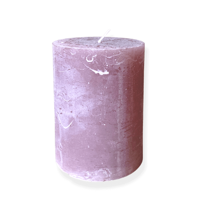 Dust rose coloured pillar candle