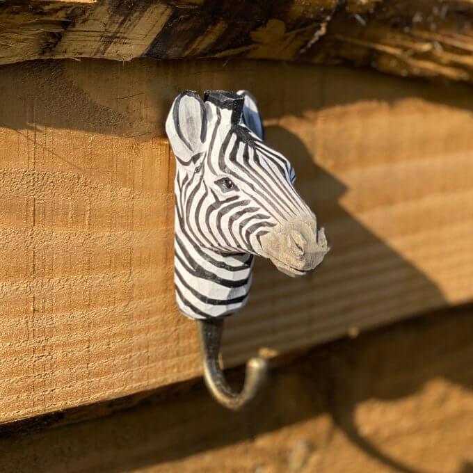 Zebra wooden hook