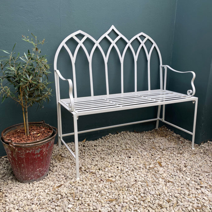 Outdoor garden bench painted off white