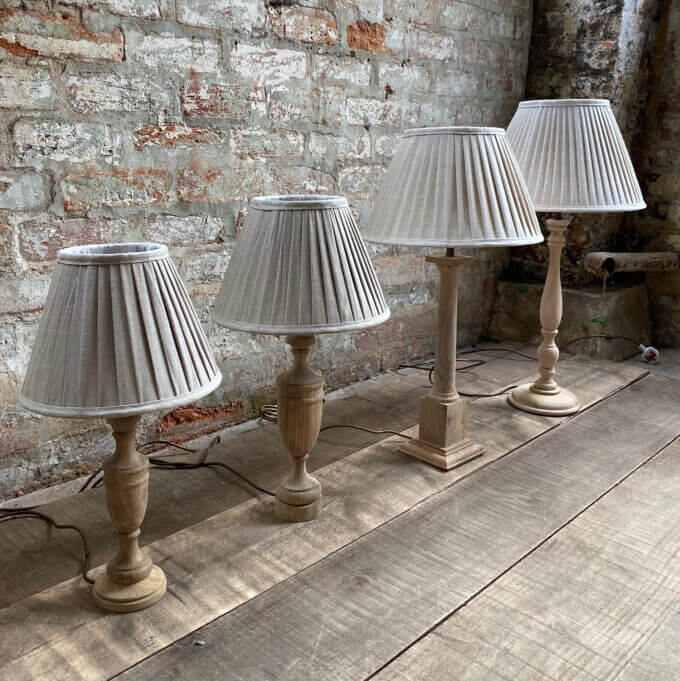 Linen pleated lampshades