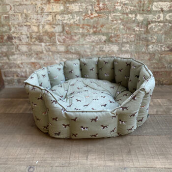 Soft dog bed with spaniel print